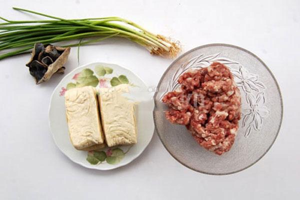 Nguyên liệu cho món mực nhồi đậu phụ